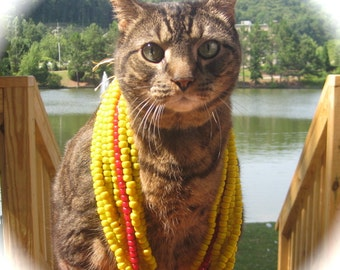 Look What the CAT Drug In! African Trade Padre Crow Bead Opaque BRIGHT YELLOW Strand