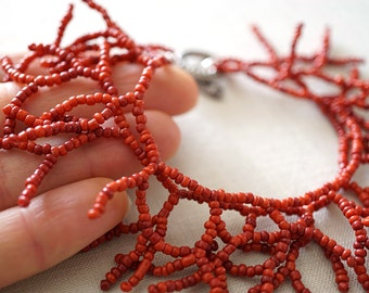 Mothers Day Gift Fringe Bracelet Eco Friendly Coral Branches Red Bracelet Glass Seed Beaded Bracelet two Strand Bohemian Boho Bracelet