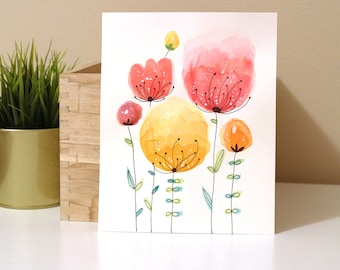 Colorful Flower Watercolor Painting