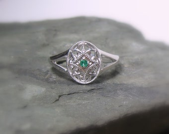 Emerald Gemstone Sterling Promise Ring, Filigree, Birthstone Ready to Ship