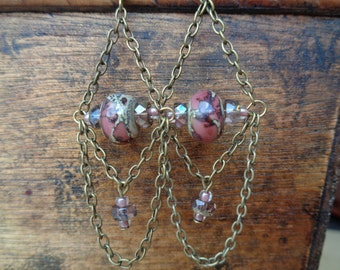 Bronze Chain Earrings with Rose Rondelles