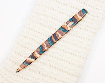 Nalbinding Needle with Large Eye - White, Teal, and Yellow Striped Wood - W245