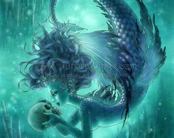 Free US Shipping - Dark Mermaid with Human Skull Fantasy Art - Secret Kisses - 5x7 Signed Fantasy Art Print - by Mitzi Sato-Wiuff