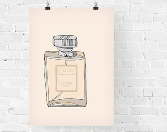 Chanel Coco Mademoiselle Perfume Fashion Illustration Art Print