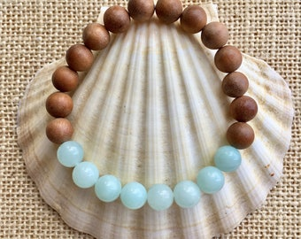 sandalwood bracelet, yoga jewelry, amazonite, crystal healing, gift for her