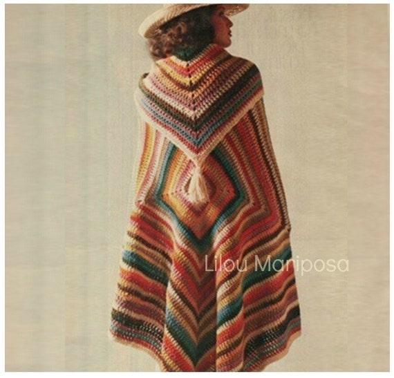 Patron pdf de tejido en crochet poncho rustico sueter