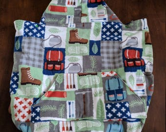 outdoor baby wearing blanket, hiking, camping, carrier, baby, infant, toddler, soft structured carrier, carrier cover, warm, winter, fleece