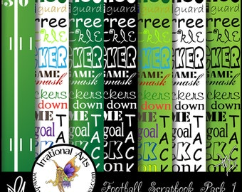 INSTANT DOWNLOAD Football Digital Scrapbooking Papers Pack 1 with 7 jpg files 300dpi