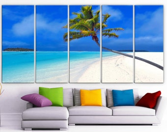 "XLARGE 30""x 70"" 5 Panels Art Canvas Print  beautiful Beach Palm sea blue Wall home office decor interior (Included framed 1.5"" depth)"