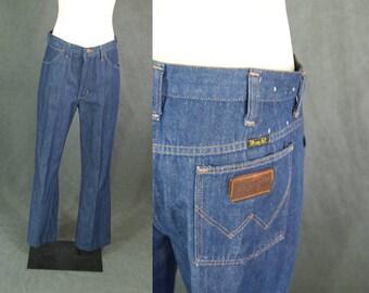 vintage 70s Wrangler Jeans - 1970s  Dark Denim Jeans - High Waist Bootcut Jeans Sz 30 31