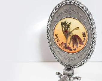 Real Flower Stand and hand mirror - real pressed flower, under 30 gift idea, mothers day gift