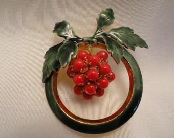 Vintage Sandor Enamel Holly Wreath Brooch Pin with Berries
