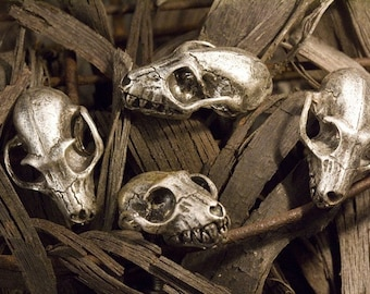 Bat Skull Cabinet Hardware, One knob Antique Silver (Made in NYC)