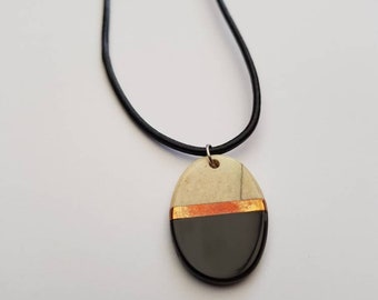 Handmade Bone and Horn Pendant Necklace with Copper Divider