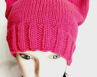 Pussy Hat Project Day Without Women Cat Hat Kitty Cat Cap Hot Neon Pink Adult Teen Womens March on Washington hand knit hat knitting