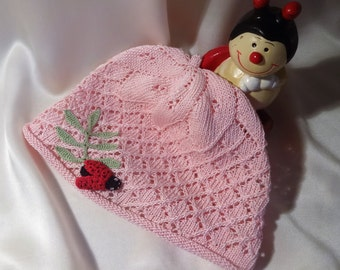 Lacy Knit Baby Girl Sun Hat.