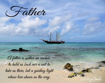 FATHER'S DAY Quote Sailboat Photo Caribbean Oceanscape Beach Photography Father's Day Wall Art