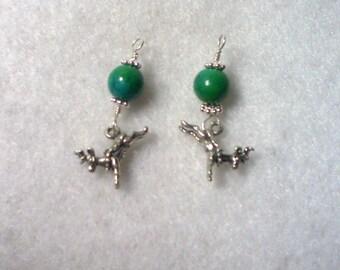 Reindeer Earrings, Chrysocolla & Sterling Silver Earrings, Reindeer Charm Earrings, Sterling Silver Earrings