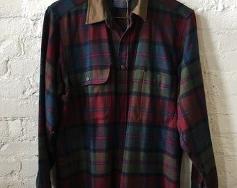 Classic 1960's Pendleton Plaid Check Wool Shirt - Vintage Clothing, Men's Shirt, Size Medium