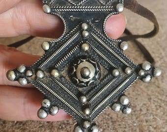 Large Berber Filigree Cross with Leather Band Necklace, Moroccan Sahara