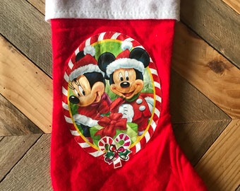 Vintage Mickey Mouse and Minnie Mouse Christmas Stocking