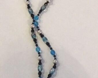 Blue glass pendant necklaces