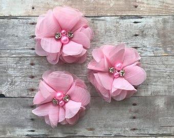 "2"" Chiffon Flower, Pink rhinestone and pearl flower, DIY Hair Accessories, Craft Supplies, Wholesale flowers, Baby headband supply"