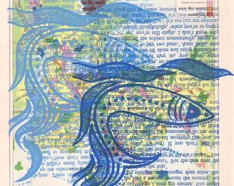 Blue fish wall art, blue wall art, blue fish screen print, blue print, aquatic wall art, fish art, fishes art, fishes print, found paper art