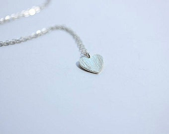 Silver Heart Necklace - Valentine Necklace - Brushed heart necklace in Sterling silver - Silver heart necklace - Minimalist necklace