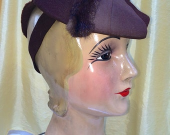 Vintage 1940 Tilt Hat of Brown Wool, with Mink and Wide Grosgrain Trim on Crown and Large Back Bow with Broad Back Band of Wool 'Toy' 'Doll'