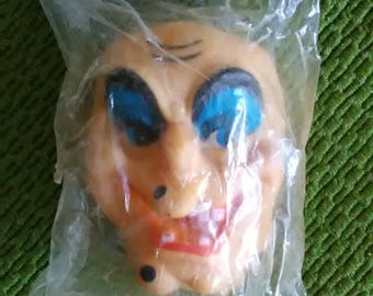 Vintage Witch Doll Face - Scary - Ugly - Halloween - Hag - Crone - Help Rescued Cats