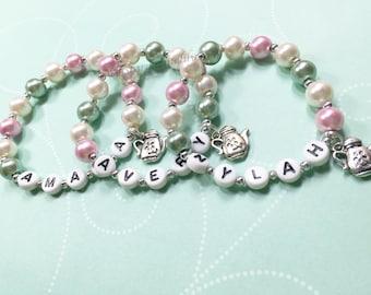 Sage & Mauve Rose Pink Pearl personalized name bracelet Tea Party Favor Garden Party Personalized party favor Kids Bracelet Party Favor