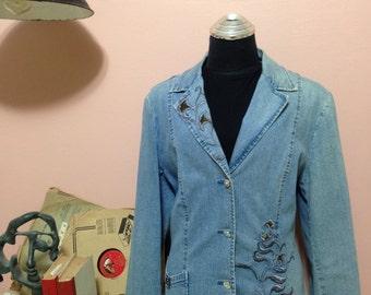 1990 Womens Jacket, Womens jackets, jeans jacket, Jeans Jacket,  90s Jackets, jackets, Women jacket, Vintage jacket, Denim jacket Size XL