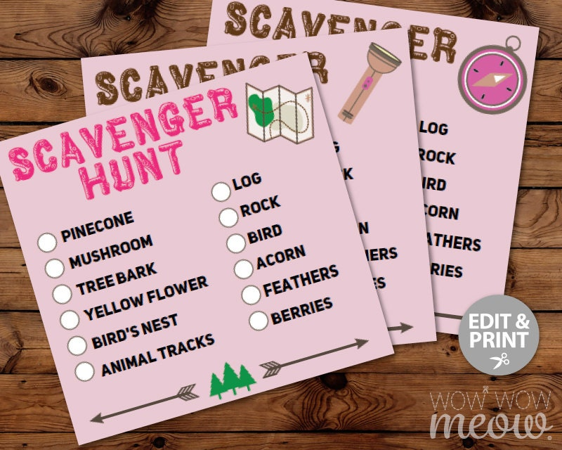Glamping Camping Scavenger Hunt Cards Birthday Party Activity