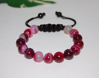 Burgundy Agate Bracelet,Gemstone 8mm Beads,Drawstring,Shamballa Bracelet,Healing,Prayer, Good Luck , Man, Woman, Yoga,Protection,Meditation