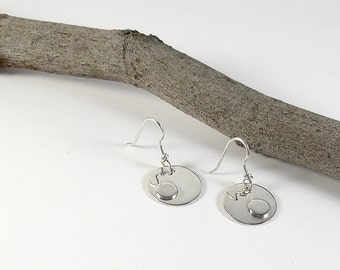 Silver earrings Round earrings Sterling silver earrings. Dangle earrings Handmade womens earrings. Contemporary jewelry