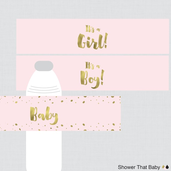 Pink And Gold Water Bottle Labels Baby Shower Printable