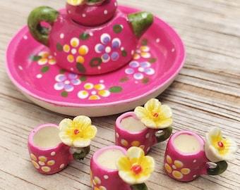 Miniature Tea Set,Miniature Chinese Tea Set,Miniature Drink,Dollhouse Tea set, Miniature Tea Pot with 4 cup Set,Miniature Tea Pot