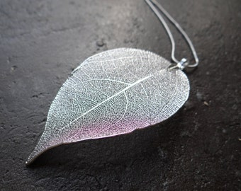 Real Natural Silver Plated Leaf Necklace on a Black Adjustable Cord or chain