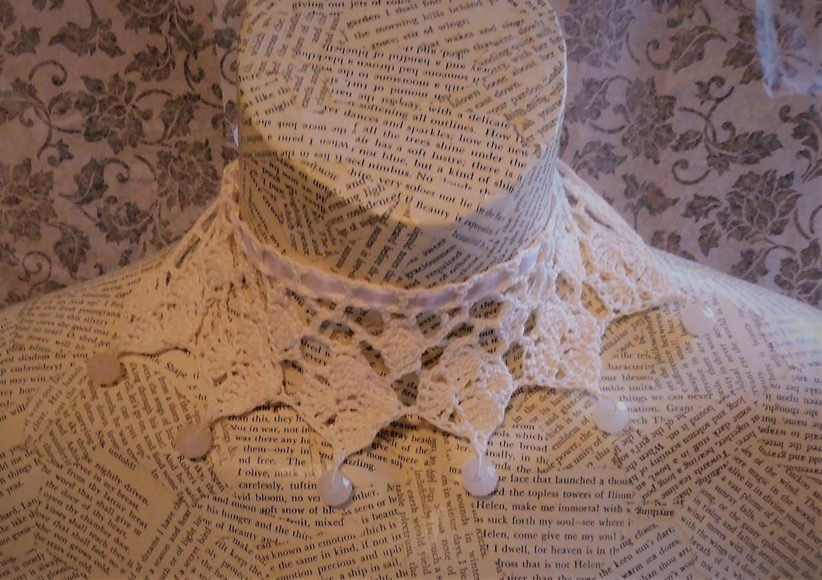 Elfenbein Creme häkeln Perlen Halskette Halsband