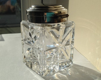 Silverplate cut glass crystal Inkwell