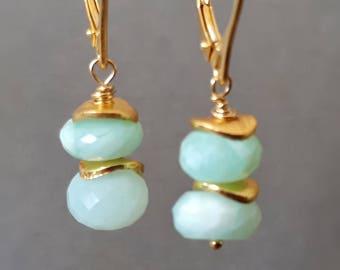 Blue opal earrings, Peruvian blue opal drop earrings, October wife gift, blue opal and gold earrings, Peruvian blue opal dangle earrings,