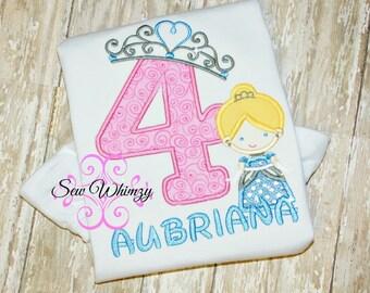 Cinderella birthday shirt- Birthday Girl Shirt- Princess Birthday- Girl's Cinderella Shirt- Monogram Princess shirt- Cinderella Shirt- Girl