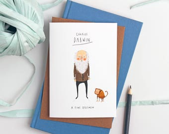 Charles Darwin Fine specimen illustrated Valentine's Day Card - Card for him - Love card - illustrated card - monkey - cards for scientists