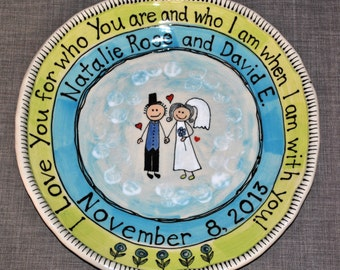 Personalized Wedding Platter, Custom Ceramic Plate