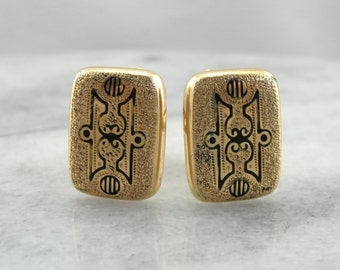 Beautiful Victorian Era Enameled Cufflinks, Perfect Wedding Gift for Bride or Groom LTZ77J-R