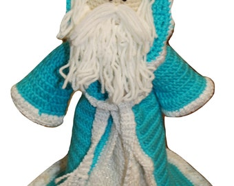 "Father Christmas - Teal - Tabletop or Treetop - 13.5"" Tall"
