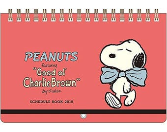 Snoopy 2018 Calendar and Notepad - Red - Wall Calendar B6 Size By Sunstar