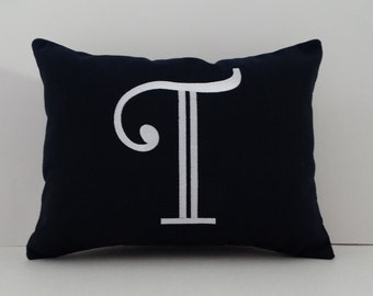 Pillow Cover | MONOGRAMMED Pillow | INITIAL Pillow | Sunbrella Indoor Outdoor Pillow | Letter Pillow | Embroidered Pillow | Monogram Sham