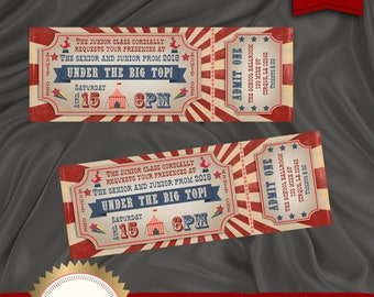 Printable Prom Ticket Invitation Under The Big Top Junior And Senior Pre